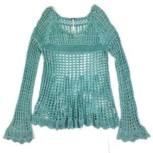 FP Seafoam Green Sheer Crochet Bell Sleeve Top M